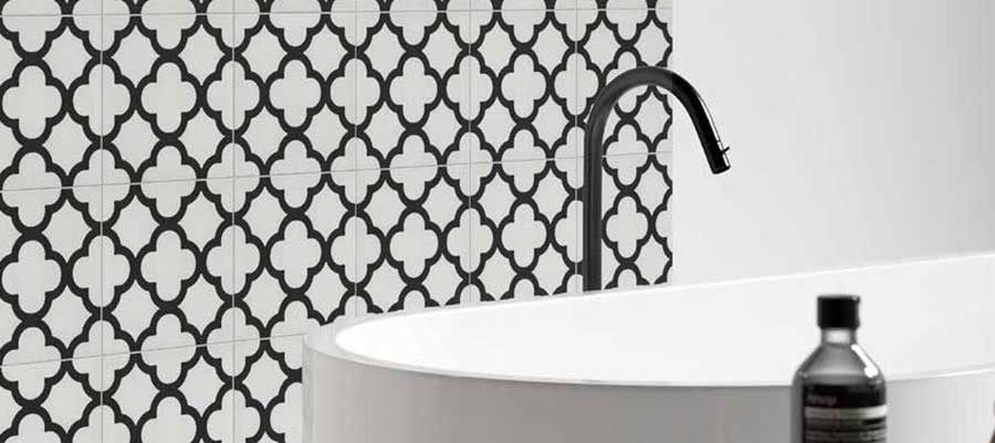 Modern black and white geometric bathroom wall tiles